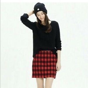 Madewell Buffalo Plaid Wool Mini Skirt